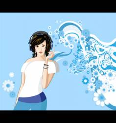 women is listening to music vector image