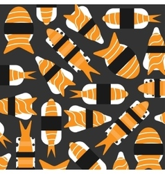 Sushi pattern on dark background flat style vector