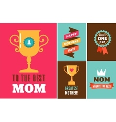 Happy mothers day ribbons trophy and elements vector
