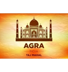 Sunrise agra taj mahal india orange vector