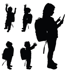 Children happy set silhouette vector