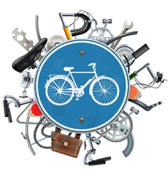 Bicycle spares concept with blue round sign vector