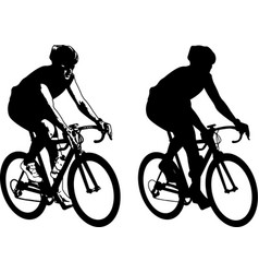 Bicyclist sketch and silhouette vector