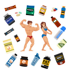 bodybuilders gym athlete and sport food diet vector image