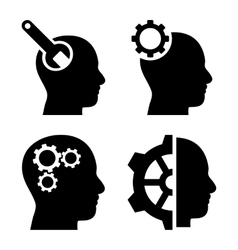 Brain tools flat icons vector