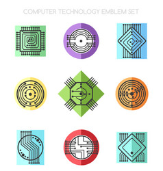 computer science technology emblem set with vector image