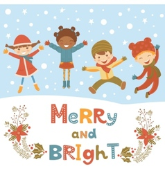 Cute christmas kids vector