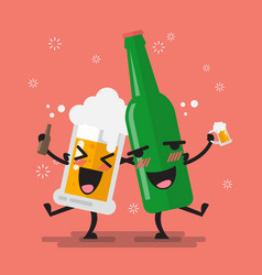 drunk beer glass and bottle character vector image