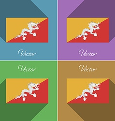 Flags Bhutan Set of colors flat design and long vector image