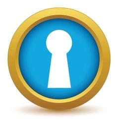 Gold keyhole icon vector image