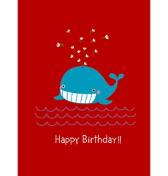 Happy birthday card with cute whale vector