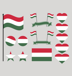 hungary flag set collection of symbols heart vector image