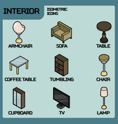interior color outline isometric icons vector image vector image