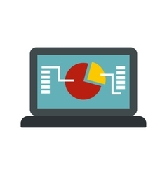Laptop with graph icon flat style vector image