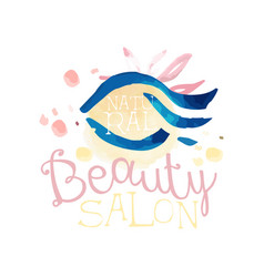 Natural beauty salon logo label for hair or vector