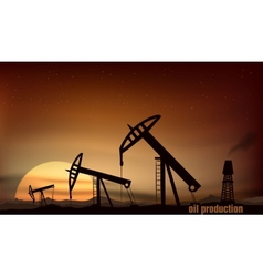 Oil production from the towers at sunset vector