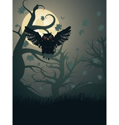 Owl in the night forest2 vector