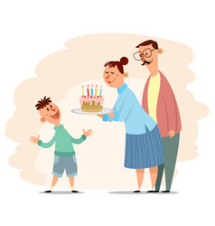 parents congratulate sons birthday vector image vector image