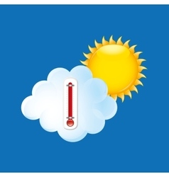 Red thermometer icon cloud sun weather meteorology vector