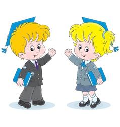 Schoolchildren with trencher-caps vector