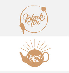 set of black tea hand written lettering logos vector image vector image
