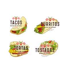 Set of label and logo design for mexican food vector