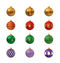 set of realistic colored christmas balls vector image