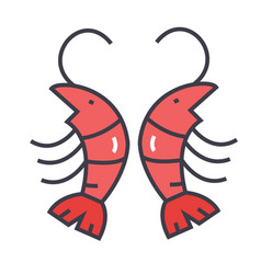 shrimp prawn concept line icon editable vector image vector image