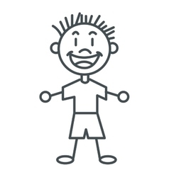 Stick figure boy icon vector