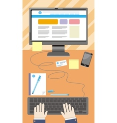 Workplace with hands typing on keyboard vector image