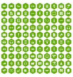 100 audio icons hexagon green vector