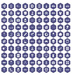 100 development icons hexagon purple vector