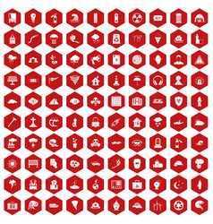 100 disaster icons hexagon red vector