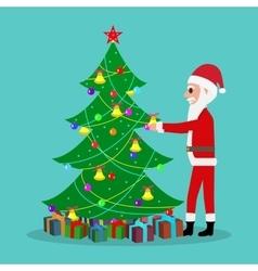 Cartoon santa claus decorate christmas tree vector