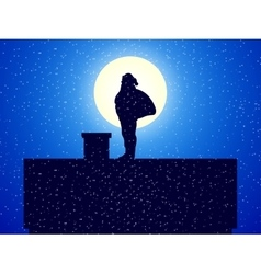 Silhouette santa claus standing on roof a house vector
