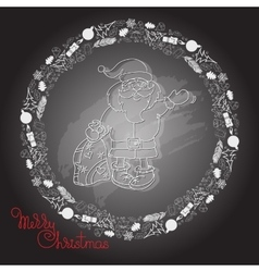 Hand drawn santa claus gifts and handwritten vector