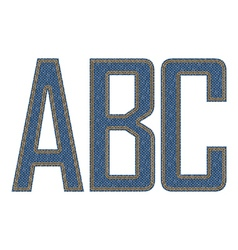 Denim fabric stithed letters vector