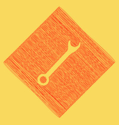 crossed wrenches sign  red scribble icon vector image