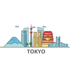 Tokyo japan city skyline buildings streets vector