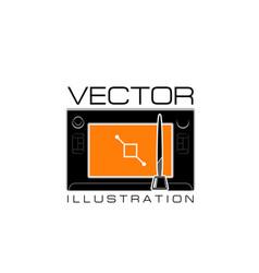 Design studio icon of digital drawing pad vector