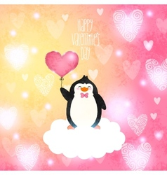 Valentines card with cute cartoon penguine vector