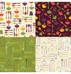 Food seamless patterns vector