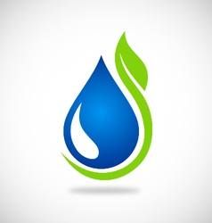 Clean water green leaf ecology logo vector