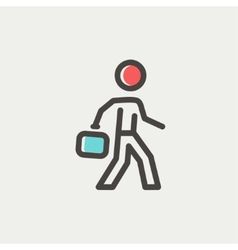 Man walking with briefcase thin line icon vector