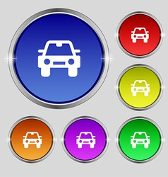 Auto icon sign round symbol on bright colourful vector