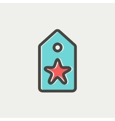 Tag with star best offer sale thin line icon vector