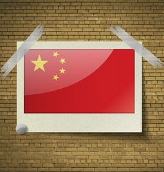 Flags china at frame on a brick background vector
