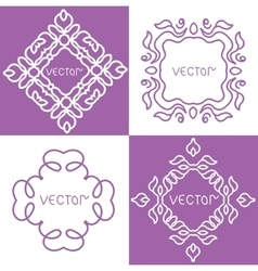 Floral outline frames and borders monogram mono vector