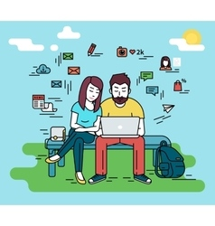 Couple with laptop outdoors vector
