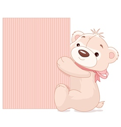 Teddy bear holds sign vector